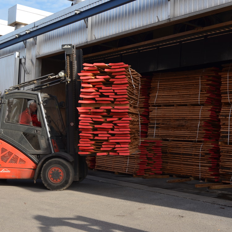 Forklift with timber